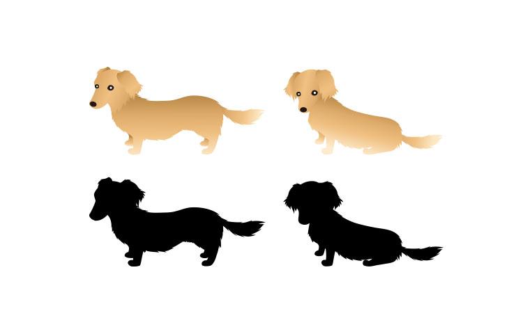 犬のイラストとシルエットミニチュアダックス商用利用できるフリー