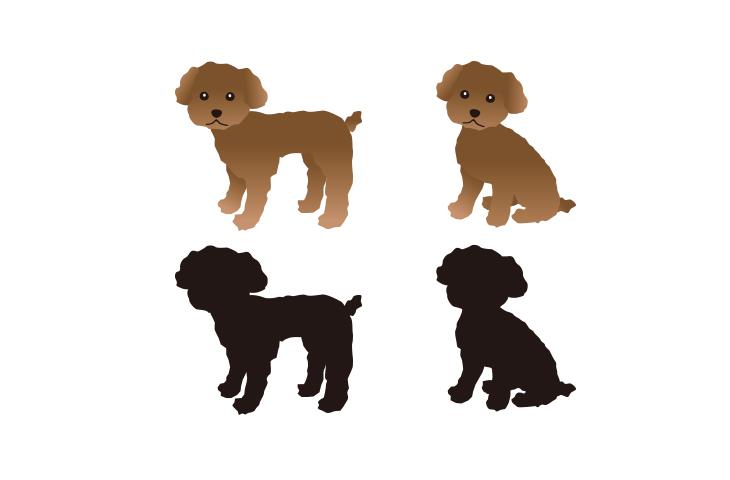 犬のイラストとシルエット/トイプードル