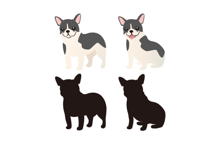 犬のイラストとシルエットフレンチブルドッグ商用利用できるフリー